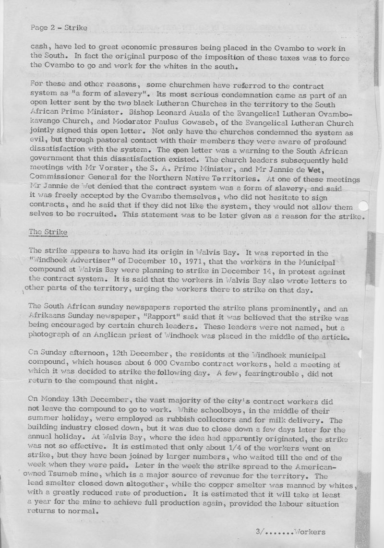 Owambo Strike Windhoek Dec 1971 Diocesan Rept S Hayes_p2