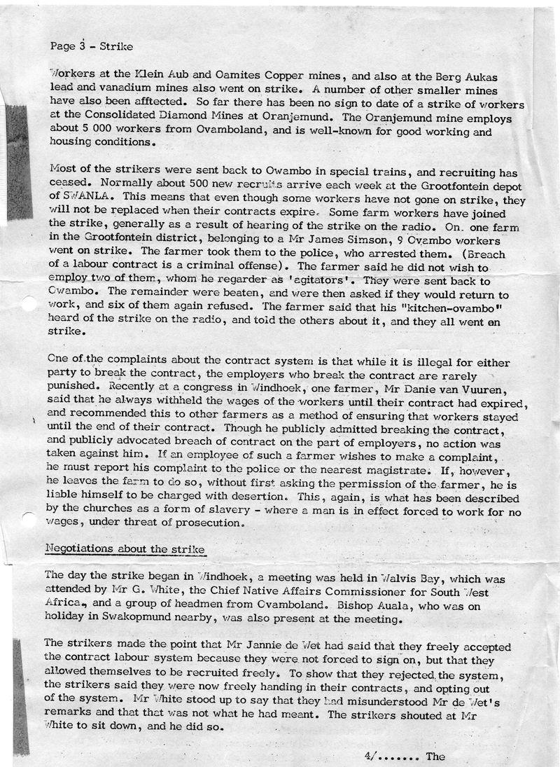 Owambo Strike Windhoek Dec 1971 Diocesan Rept S Hayes_p3