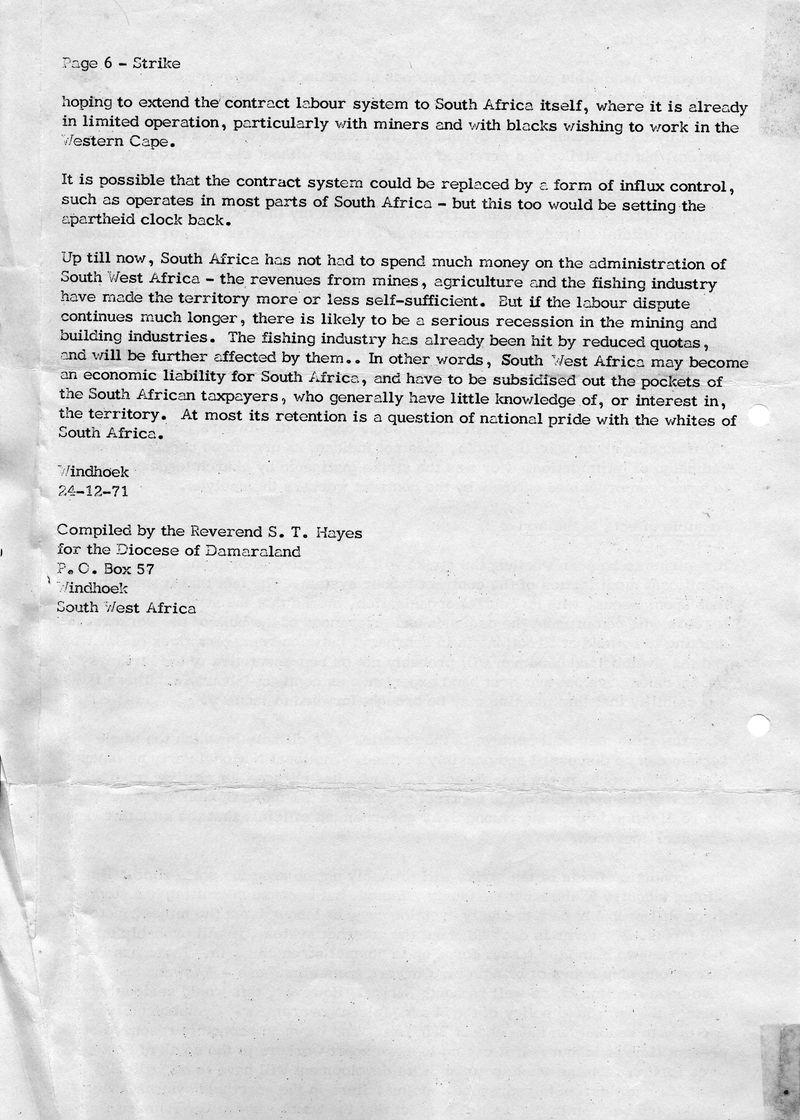Owambo Strike Windhoek Dec 1971 S Hayes Diocesan report_p6