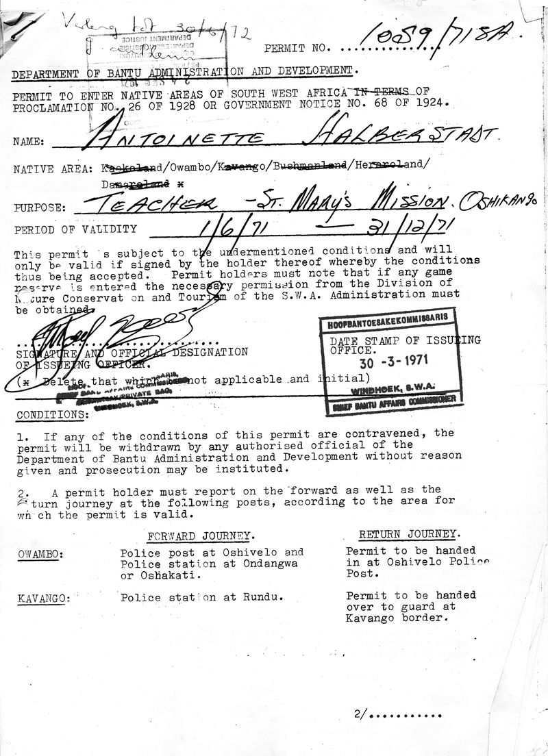 My permit to enter Owambo July 1971