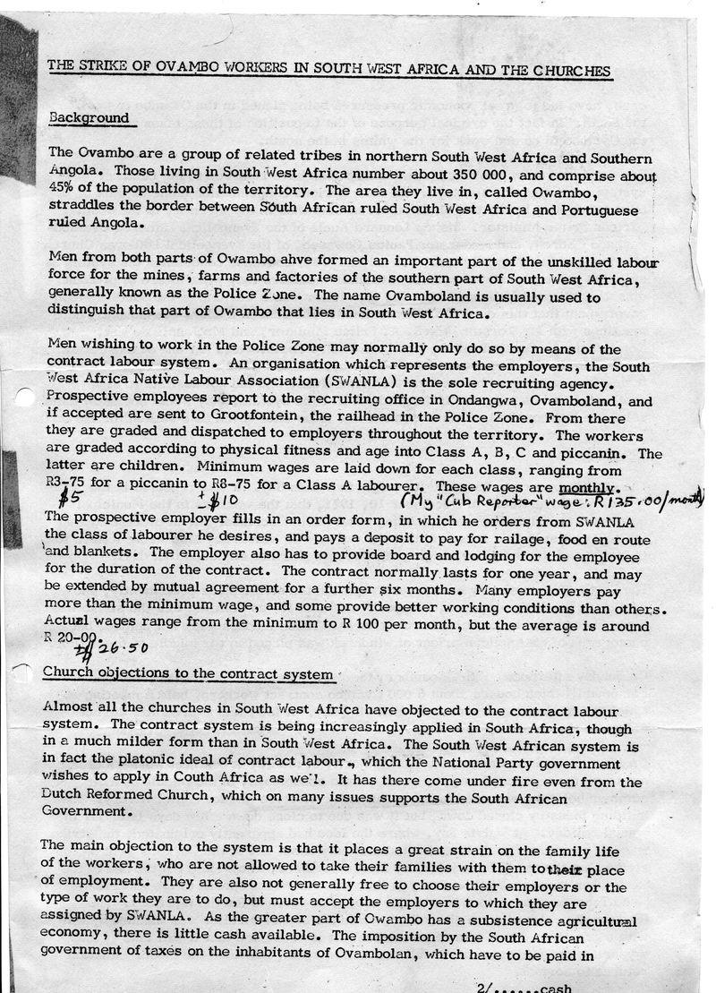Owmabo Strike Windhoek Dec 1971 S Hayes Diocesan Rept_p1